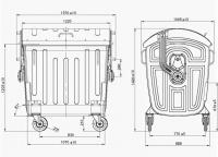 Евроконтейнер оцинкованный 1,1 м3 чертеж