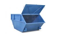Синий закрытый бункер для мусора